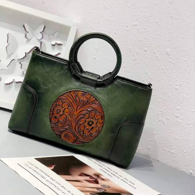 THAI Design PU Leather Structured Top Handle with Crossbody strap Bag
